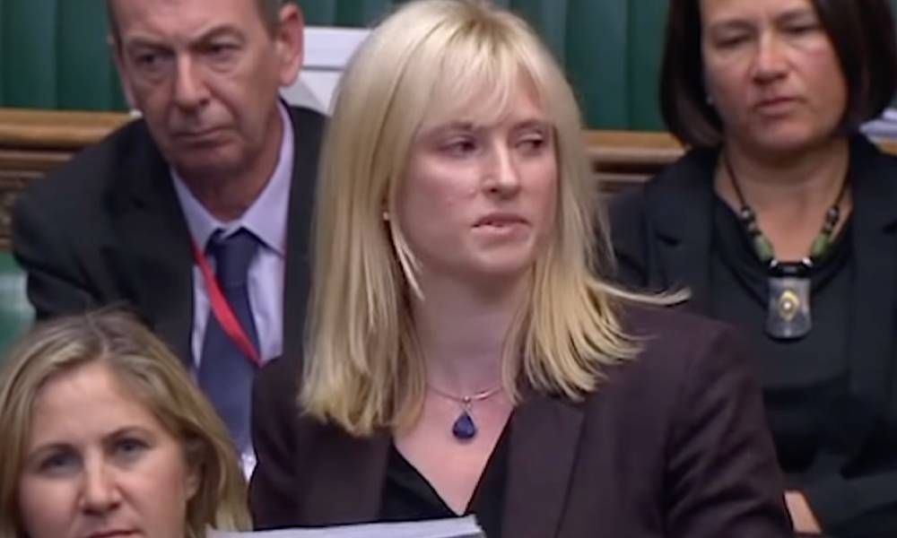 Labour MP Rosie Duffield seen talking in front of Parliament