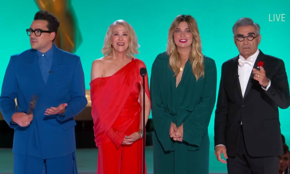 Schitt's Creek cast during their appearance at the Emmys
