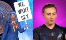 A side by side image of Ella Vaday, a contestant on series three of Drag Race UK. In one image, she is seen dressed as a picketer with a side reading 'we want sex', and in the other image, fans saw Ella Vaday outside of drag