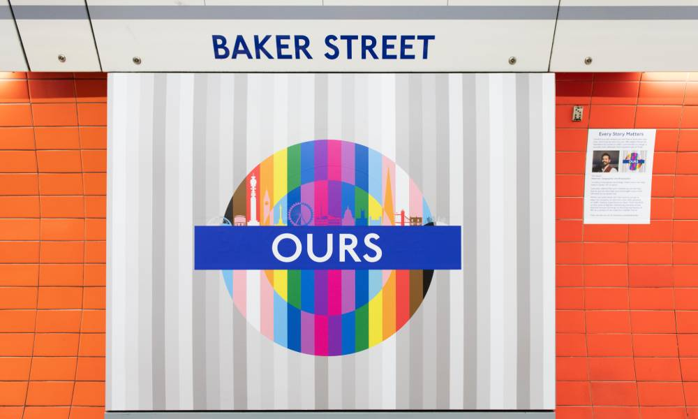 Pride roundel celebrating London's LGBT+ community can be seen at the Baker Street Tube stop in London