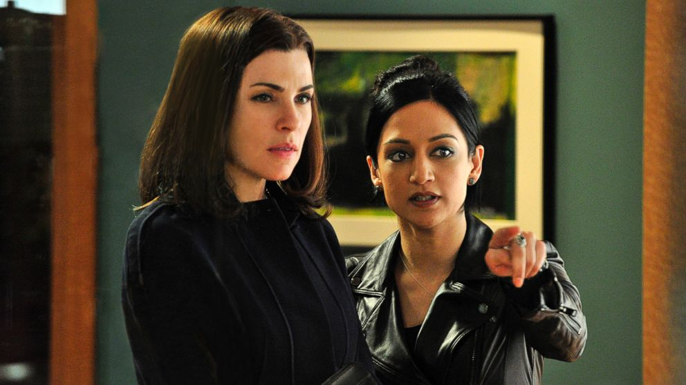Archie Panjabi (R) with Julianna Margulies in The Good Wife.
