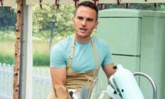 David in the Bake Off tent, in front of a stand mixer