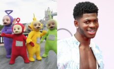 On the left: The Teletubbies outside Tower Bridge. On the right: A headshot of Lil Nas X