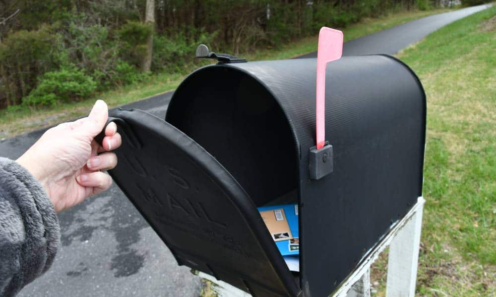 A person opening up a mailbox to illustrate trans and non-binary people from Canada seeing their deadname on voters cards in the mail