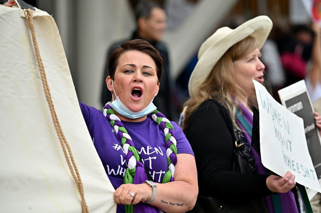 Marion Millar at an anti-trans protest on 2 September.