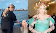 On the left: NikkieTutorials lays flowers at the spot on the Hudson River where Marsha P. Johnson's body was found. Right: Nikkie at the Met Gala in a turqoise dress and flower crown