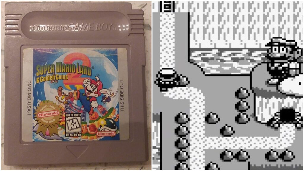 Super Mario Land 2 on the Game Boy, cartridge next to screenshot from game