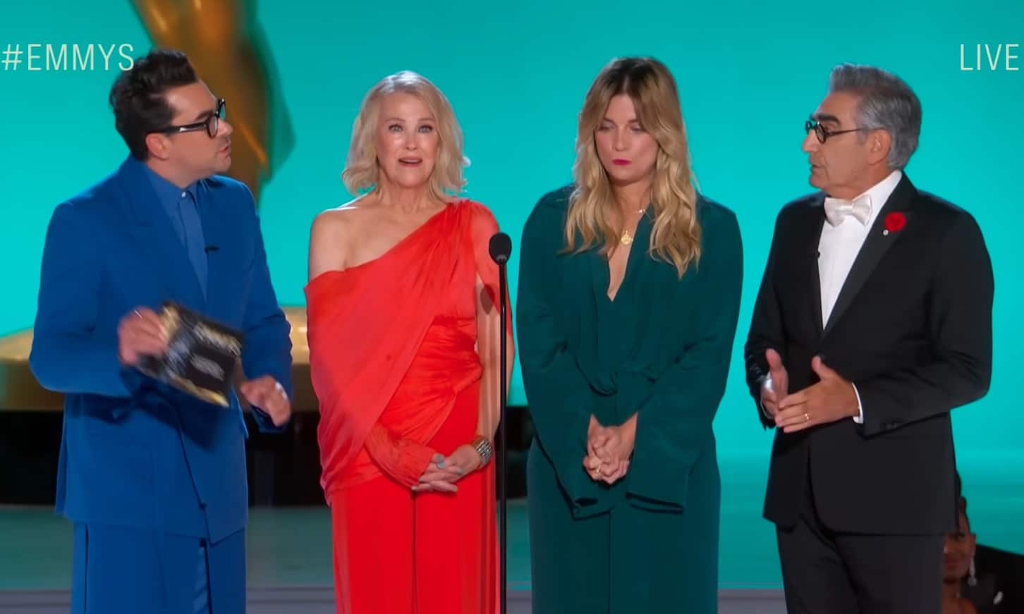 Schitt's Creek cast reunite and steal the Emmys with 'embarrassing' malfunction