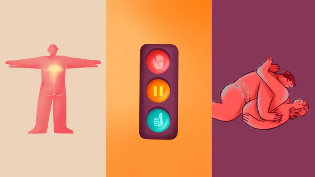Some of the visuals that feature in the online sex education masterclass from NORMAL.