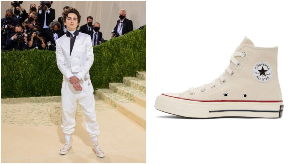 Timothée Chalamet paired his Met Gala suit with hi-top Off-White Converse.