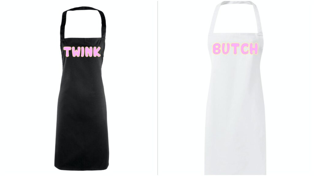 Some fun LGBT+ cooking aprons you can buy.