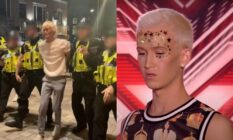 Bradley being escorted by police in yellow vests. On the right, a picture of Bradley auditioning for X Factor