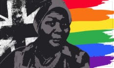 An illustration of Pearl Alcock in front of a black and white Union Jack, and a rainbow Pride flag