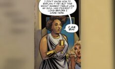 a screenshot from DC Comics new Wonder Woman series Nubia and the Amazons which introduces Bia, the first trans Amazon