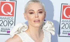 Rose McGowan attends the Q Awards 2019 in a pale outfit