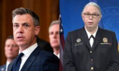 a side-by-side image of Indiana representative Jim Banks and Dr Rachel Levine