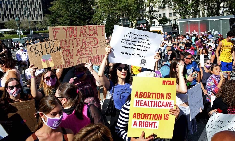 Crowds gather in New York City to protest the new abortion law in Texas