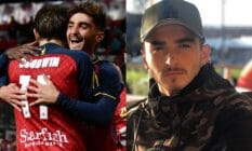 side by side images of openly gay football star Josh Cavallo