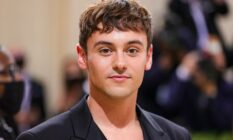 Olympian Tom Daley attends the 2021 Met Gala in a black outfit