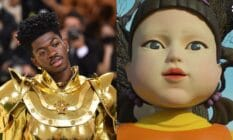 A side by side image of Lil Nas X in his golden outfit from the 2021 Met Gala alongside a still from Netflix's Squid Games that depicts the 'Red light, green light' robot