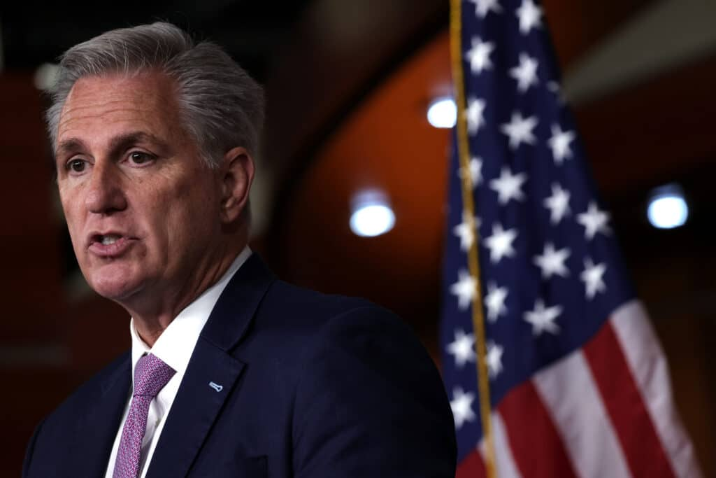 Kevin McCarthy speaks at a weekly news conference