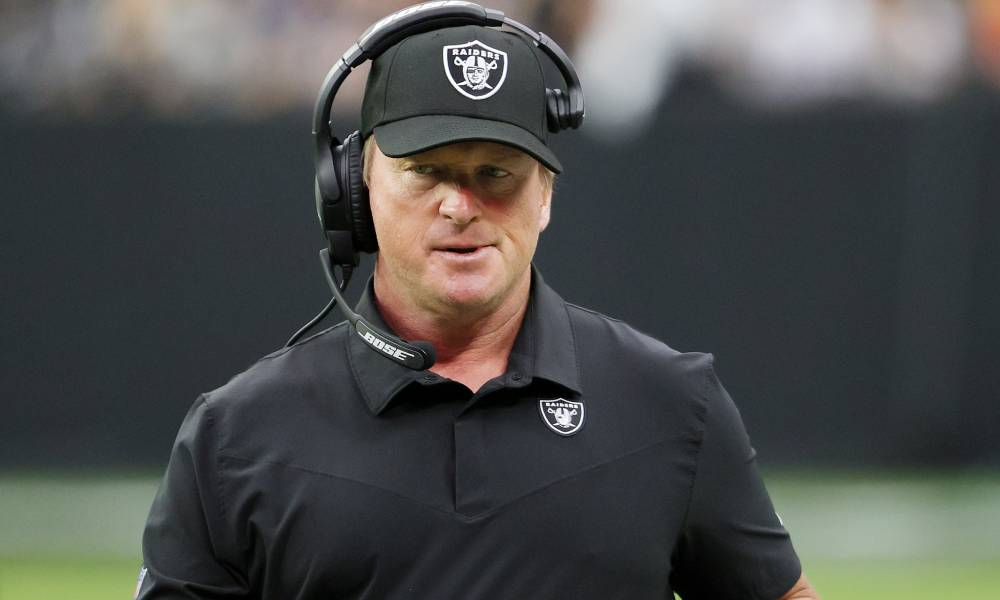A picture of Las Vegas Raiders head coach Jon Gruden during a game against the Chicago Bears
