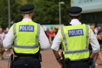 Policing measures outside the stadium prior to the Sky Bet League Two Playoff Final between Blackpool and Exeter City
