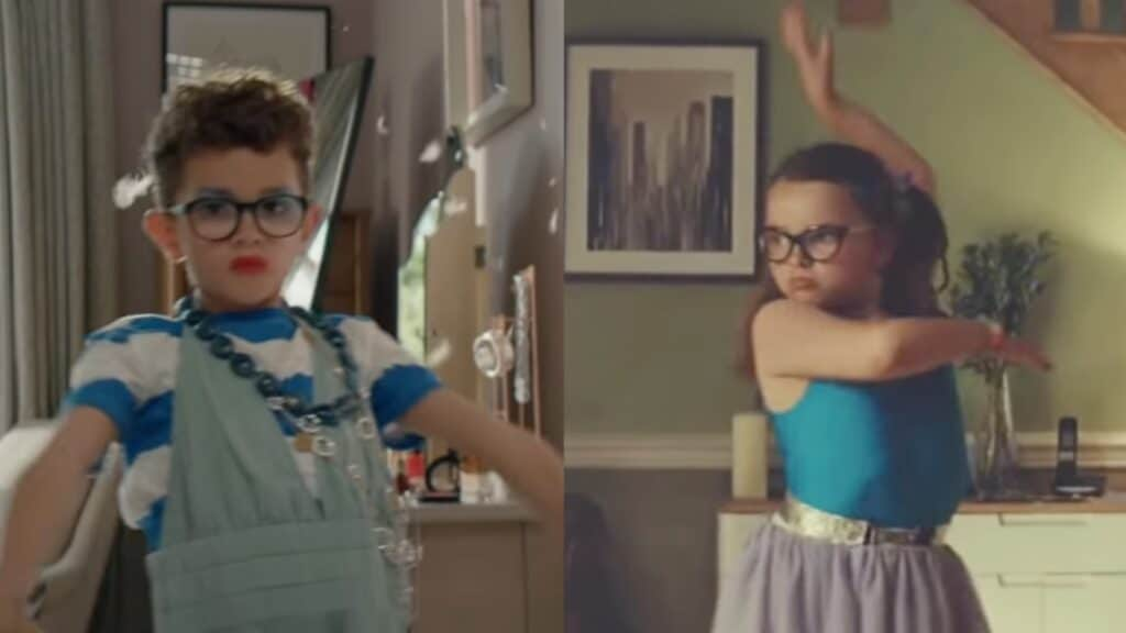 Stills from two separate Joh Lewis adverts which show a boy and a girl dancing around their homes