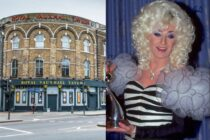 The Royal Vauxhall Tavern on the left and Lily Savage accepting an award on the right