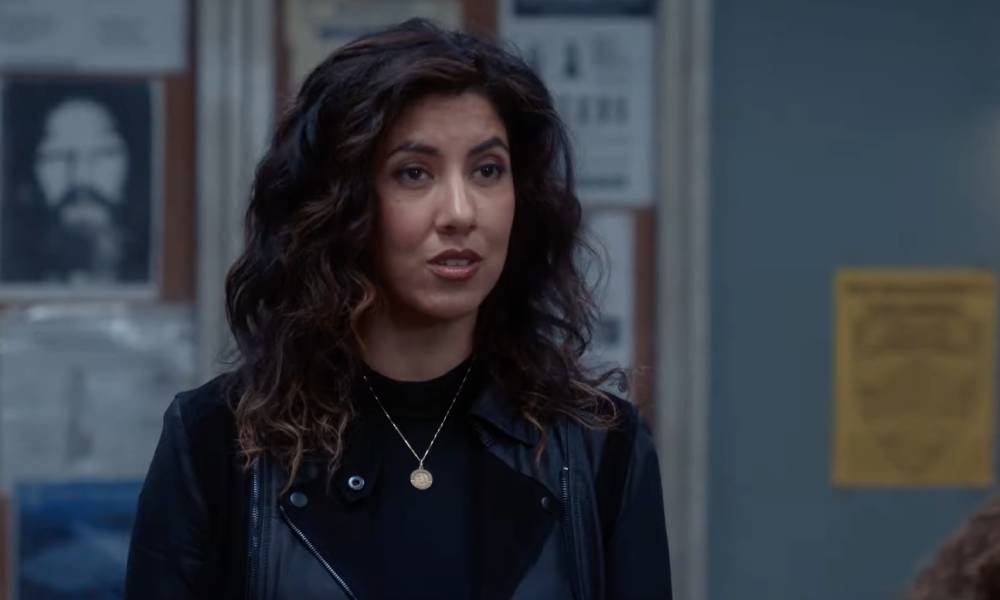 A still from the episode of Brooklyn Nine-Nine where Rosa Diaz comes out as bisexual to her co-workers