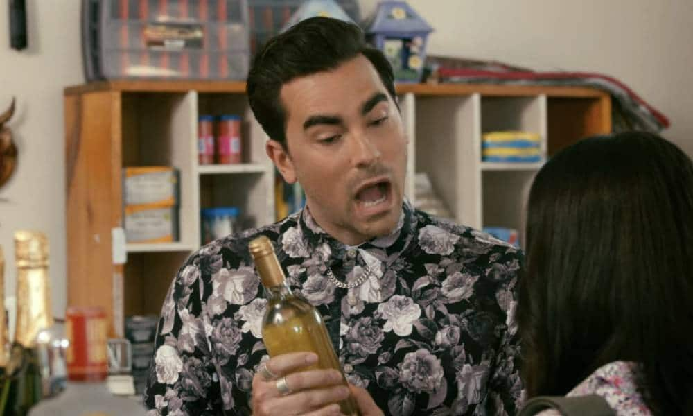A still image from Schitt's Creek where David Rose uses wine to explain his sexuality to another character