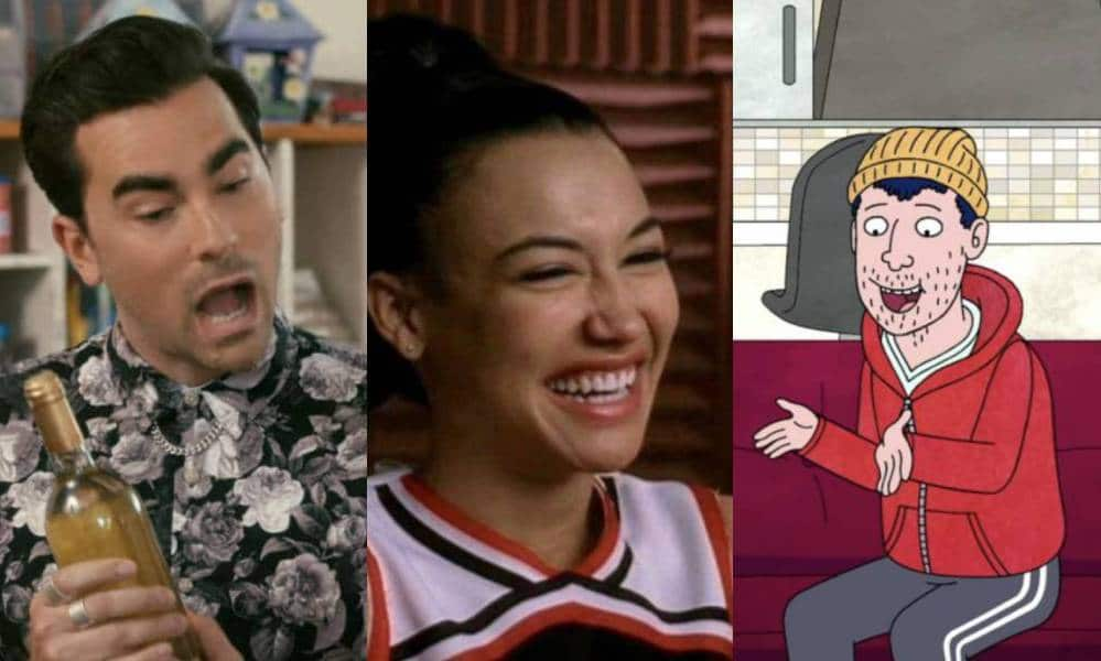 A side by side image of coming out scenes from Schitt's Creek, Glee and BoJack Horseman