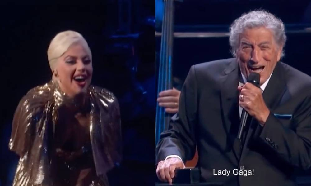 a side by side image of Lady Gaga and Tony Bennett onstage