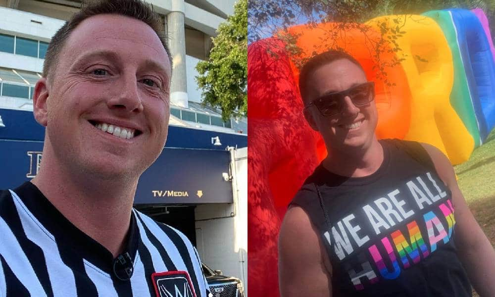 WWE referee Shawn Bennett side by side images one with him in a referee's uniform and the an LGBT+ themed shirt