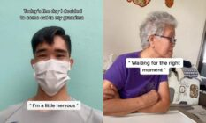 A side by side image from a TikTok video shows a man with a face mask with the worlds 'Today's the day I decided to come out to my grandma I'm a little nervous' on one side and a picture of his grandma with the worlds 'waiting for the right time' on it