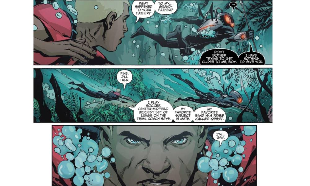 Jackson Hyde aka Aqualad comes out to his dad Black Manta in Teen Titans #10