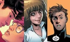 Side by side images of iconic coming out moments across DC and Marvel comics including Superman, Kate Pryde and Iceman
