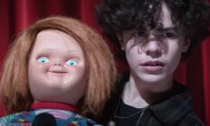 Chucky and Jake appear on stage in a trailer for the new Chucky TV show