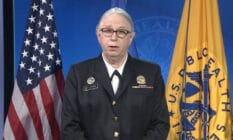 Dr Rachel Levine is sworn in as a four-star admiral of the US Public Health Service Commissioned Corps