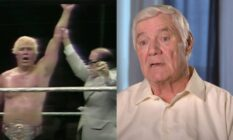 An image of Pat Patterson from when he was a professional wrestler and a later interview after he retired