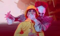 """JoJo Siwa dressed as Pennywise from the movie """"It"""" during a performance on Dancing with the Stars"""