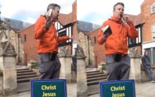 A street preacher is confronted in Lincoln over his anti-gay comments