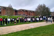 Studnets protesting at the University of Sussex against Kathleen Stock