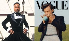 On the left: Billy Porter wearing a black dress. On the right: Harry styles wearing a dress on the cover of Vogue