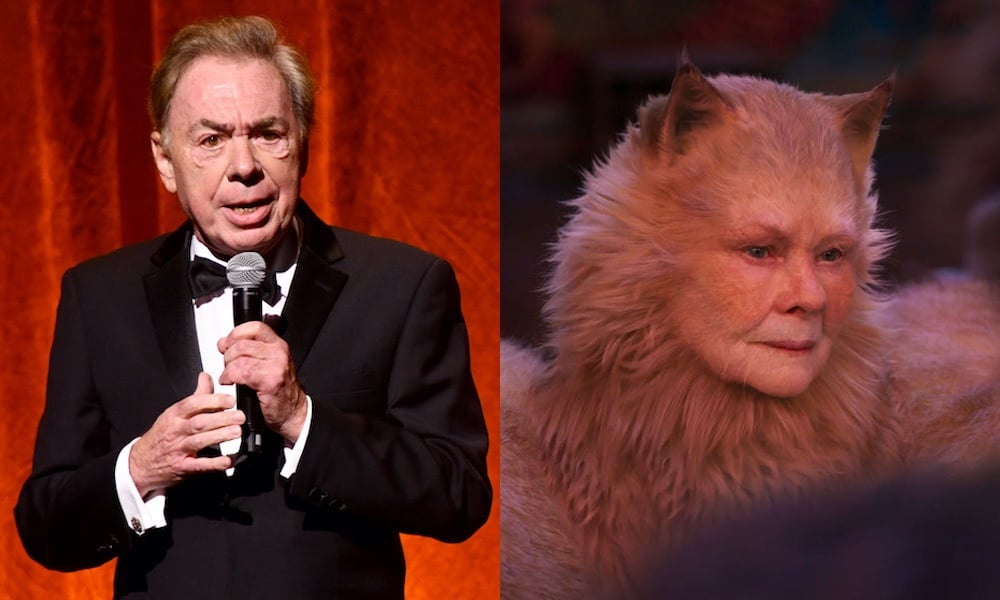 Andrew Lloyd Webber (left) and Judi Dench in Cats (right)