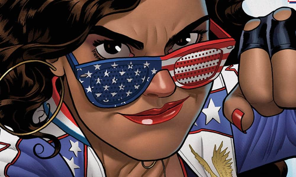 Miss America aka America Chavez is seen decked out in red, white and blue apparel while punching an unseen foe