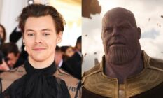 On the left: Headshot of Harry Styles. On the right: Screenshot of Thanos in Avengers: Infinity War