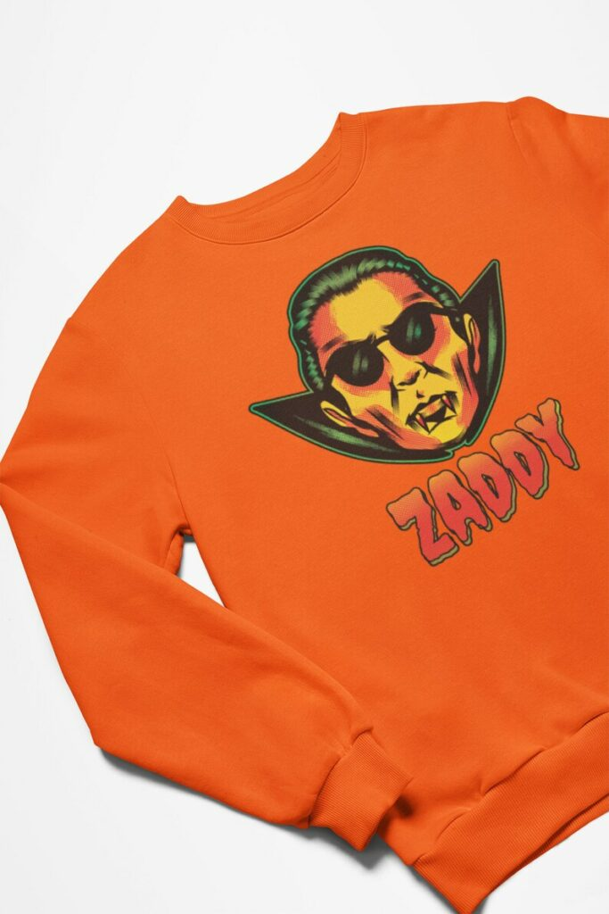 """A """"Zaddy"""" sweater featuring Dracula."""