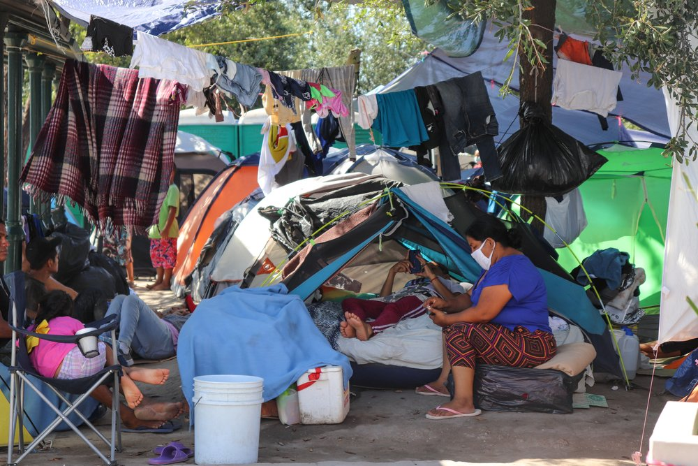 People in the Reynosa refugee camp in Mexico