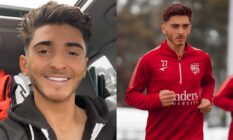 Side-by-side of Josh Cavallo smiling at the camera and then the player on the pitch in a red uniform